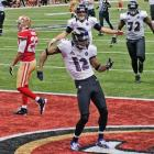 Jacoby Jones dances after his 56-yard touchdown reception.