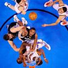 A mass of bodies fight for a rebound in a Jan. 31 game between the Oklahoma City Thunder and the Memphis Grizzlies. Led by Kevin Durant's 27 points, the Thunder soundly defeated the Grizzlies 106-89.