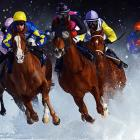 Tepmokea, ridden by Shane Kelly, leads the field into the final turn at the Grand Prix Guardaval Immobilien, part of the White Turf races in St. Moritz, Switzerland. Tepmokea couldn't hang on to the lead however as Amazing Beauty won the race, followed by Nightdance Paolo.
