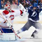 Montreal Canadiens goaltender Carey Price blocks an attempt from the Tampa Bay Lightning's Victor Hedman during the third period of the Feb. 12 game. Price saved all three shots from the Lightning in a shootout to help the Canadiens get the victory.