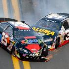 Justin Boston and Drew Charlson collide during the ARCA Series race at Daytona International Speedway on Feb. 16. The 55th annual Daytona 500 runs Feb. 24.