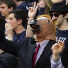 A Villanova fan shouts himself horse as his Wildcats smite the Scarlet Knights of Rutgers, 71-63, at The Pavillion in Villanova, PA.