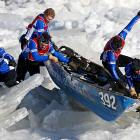 Team Groupe Financier La Capitale finds the going a bit rocky during an ice canoe race on the St. Lawrence River in Quebec City.