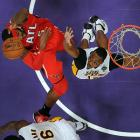 Atlanta Hawks forward Josh Smith springs to the hoop in a March 3 game against the Los Angeles Lakers. But a pair of late-game defensive letdowns by Smith cost the Hawks as Kobe Bryant beat him to the basket twice, including for a game-winning layup in the Lakers' 99-98 victory.