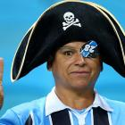 A supporter of Brazil's Gremio prepares to go down with the ship before a Libertadores Cup match against Venezuela's Caracas FC at the Arena do Gremio stadium in Porto Alegre.