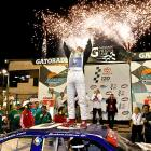 NASCAR's most explosive driver celebrates his victory in the Toyota Mexico Series 120 in Avondale, Ariz.