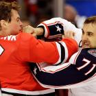 Take that, porcupine! A Three Stooges re-enactment, NHL-style.