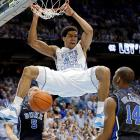 North Carolina forward James Micahel McAdoo throws down a dunk against Duke in the first half of the famous Tobacco Road rivalry game on March 9. McAdoo's dunk was a rare highlight for the Tar Heels as the Blue Devils built a 42-24 lead by halftime and cruised to a 69-53 win, sweeping their two-game series against North Carolina this season.