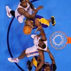 Los Angeles Lakers shooting guard Kobe Bryant goes to the hoop against the Oklahoma City Thunder in a March 5 game in Oklahoma City. The Lakers defense struggled mightily, giving up 71 points by halftime in a 122-105 loss.