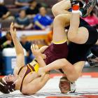Milton's Ryan Soloman wrestles Chartiers-Houston's Garrett Vulacano in the 195-pound finals of the PIAA Class AA high school wrestling championships March 9. Soloman dominated Vulacano 7-0 on his birthday to repeat as state champion.