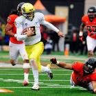 Chip Kelly is off to the NFL, and now Mariota will be tasked with keeping Oregon's high-powered offense running smoothly. The quarterback sensation racked up 2,677 passing yards, 752 rushing yards and 37 total touchdowns while leading the Ducks to a 12-1 record in 2012. Mariota was also the most efficient passer in the Pac-12 and the sixth-most efficient passer in the nation; he averaged 9.1 yards per attempt and completed 68.5 percent of his passes.