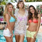 Candice Swanepoel (L-R), Karlie Kloss and Alessandra Ambrosio form quite a collection in Los Angeles.