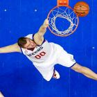 Philadelphia 76ers center Spencer Hawes misses on a dunk attempt against the Brooklyn Nets in the second half of a March 11 game. Despite the miss, Hawes scored a team-high 24 points to lead the 76ers to a 106-97 victory in Philadelphia.