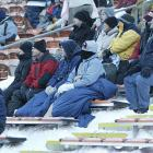Just chillin' in the stands: As if it wasn't cold enough, the wind chill made it feel like it was -28.