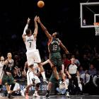 Johnson appears on this list multiple times. On this occasion, he hit a 17-footer at the buzzer to propel the Nets past the Bucks 113-111 in overtime in Brooklyn. And the Nets wouldn't have even made it to OT without Johnson's game-tying three-pointer with 1.3 seconds remaining in regulation.