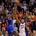 With the Knicks inbouding the ball with one second left in a 97-97 game at Phoenix, Smith took a pass from Jason Kidd in the left corner and delivered a fading, off-balance 21-footer over P.J. Tucker. Smith finished with 27 points on a night when the Knicks played without Carmelo Anthony and Raymond Felton.
