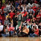 The Bucks' guard nailed a fadeaway 27-foot three-pointer off of one foot over Chandler Parsons to stun the Rockets 110-107 in Houston. The buzzer-beating shot rolled around the rim before bouncing in to complete Ellis' 27-point, 13-assist performance and the Bucks' comeback from a 17-point deficit.