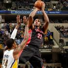 In just his fourth game as a Raptor, Gay made a 17-foot jumper with 1.7 seconds left in overtime as Toronto upset the Pacers 100-98 in Indiana.