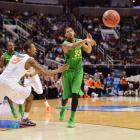 Carlos Emory tosses a pass in Oregon's win over Oklahoma State in the NCAA Tournament.
