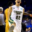 Colorado State guard Dorian Green (22) reacts as time expires in the victory over Missouri.