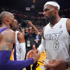 LeBron James' franchise-record fifth consecutive 30-point game (he scored 32 on 12-for-18 shooting) lifted the Heat past the Lakers, who got 28 points and nine assists from Kobe Bryant and played Miami tough but couldn't overcome eight fourth-quarter turnovers.