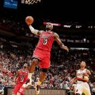 The Heat completed a 5-0 homestand and extended their winning streak to six games behind (who else?) LeBron James, who set an NBA record with his sixth consecutive game of at least 30 points and 60 percent shooting. James finished with 30 points on 11-of-15 from the field. Miami needed every bit of James' production: The Heat trailed by as many as 14 in the second quarter and also blew a 14-point third-quarter lead, closing the game on an 18-5 run after it was tied at 99-99 with five minutes remaining