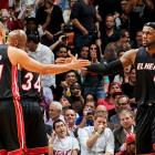 Miami shot 53.2 percent and spread the wealth among LeBron James (25 points), Dwyane Wade (22), Chris Bosh (16), Ray Allen (12) and Shane Battier (11).