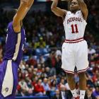 Indiana's Kevin (Yogi) Farrell rises for a shot against James Madison on Friday.