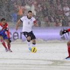 Despite conditions that made dribbling a challenge, Clint Dempsey gave the United States a 1-0 lead in the 16th minute of the game that it never gave up.