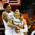 <bold>The Hurricanes are headed to the Sweet 16 for only the second time in school history largely on the shoulders of Larkin (right), Miami's leading scorer (14.5 points per games) and the son of baseball great Barry Larkin. Shane nailed a three-pointer with one minute left to give the 'Canes the lead for good in a Round of 32 matchup with Illinois, setting up a meeting with Marquette in the Sweet 16.</bold>