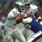 Cunningham evades a sack in the Eagles 28-19 win over the Giants.