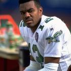Cunningham sits on the sidelines during the Eagles 28-23 road loss to the Giants.