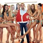 Hey, Czech out those finalists with presenter Libor Boucek at the big beauty contest in Prague.