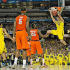 Sporting the youngest team in the tournament, including freshman Mitch McGary (4), Michigan will be going for its first national title since 1989 when it takes on Louisville Monday night.