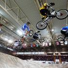 Cyclists get air in the Men's Elite 1/8 Finals as Manchester, England played host to the UCI BMX Supercross World Cup.