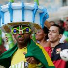 The current Brazilian soccer team bears (by their standard) an uncanny resemblance to this fan's stadium hat: flimsy and held together by duct tape.