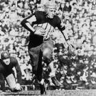"""Legendary sportswriter Damon Runyon once said Grange was a combination of other athletes: """"He is Jack Dempsey, Babe Ruth, Al Jolson, Paavo Nurmi and Man o' War."""" In a 1924 game, Grange ran for 262 yards and four touchdowns...on four plays in 12 minutes. The Galloping Ghost was only 5-foot-11, 175 pounds, but no one at the college level could stop him. Grange was a three-time All-America."""