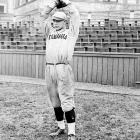 Before Gehrig's freshman year at Columbia, word got out that he had played a season with a summer professional team. He could have lost his amateur status for good, but he received a break -- he could return after a one-year suspension. As a sophomore, in his only year of college ball, Gehrig hit .444 and earned fame for his towering home runs. But he was also Columbia's best pitcher -- striking out 17 batters one game -- and played fullback on the football team.