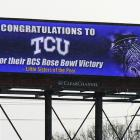 """After Ohio State president Gordon Gee inadvertently insulted nuns by saying Big 10 schools """"do not play the Little Sisters of the Poor. We play very fine schools on any given day,"""" a TCU fan responded. Twenty digital billboards went up around Ohio after the Horned Frogs beat a Big Ten school in the Rose Bowl."""