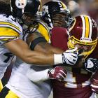 LaMarr Woodley (No. 56) has had one Birthday Game in his six-year career, a Monday nighter in Washington, D.C., on the eve of the presidential election. Woodley had two of Pittsburgh's seven sacks of Jason Campbell and five total tackles in the 23-6 win.
