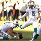In a game in which the lawn sprinklers came on between plays in the third quarter, Dan Carpenter kick-started his 27th birthday celebration by nailing this game-winning, 43-yard field goal as time expired. It enabled the Dolphins to defeat Russell Wilson and Seattle as Miami scored 17 points in the final 8:08.