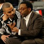 Spike Lee shares his wisdom with Parker during All-Star Weekend in Phoenix in February 2009.