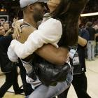 Parker's ex-wife, Eva Longoria, jumps into his arms after the Spurs won the 2007 NBA Championship.