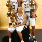 David Robinson (left) retired after winning the 2003 NBA Championship, leaving Parker, Duncan and Ginobili to carry on in his absence..
