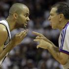 Parker argues a call with referee Joe Forte during Game 4 of the 2008 NBA Western Conference finals against the Lakers. San Antonio captured one game in the best-of-seven series, dropping to 0-4 all time in Western Conference Finals against the Lakers.