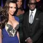 "Serena along with Kim Kardashian and Sean ""Diddy"" Combs at a 2012 Pre-Grammy gala."