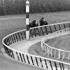 Jockey Ron Turcotte turns for a look at the field as he and Secretariat make the final turn.