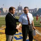 Lombardi (right) led the Packers to five NFL Championships during his tenure, including a 35-10 victory over Hank Stram's Kansas City Chiefs in Super Bowl I.