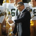 Lombardi before kickoff at Super Bowl II at the Orange Bowl in Miami, Florida. His Packers defeated the Oakland Raiders, 33-14.