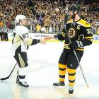 Boston completes its improbable sweep of Pittsburgh by holding off the Penguins, 1-0, in Game 4. Unheralded defenseman Adam McQuaid scores the game's only goal at 5:01 of the third period, taking a terrific pass from Brad Marchand and blasting a shot over Tomas Vokoun's right shoulder. Goaltender Tuukka Rask continues his superb performance, making 26 saves and keeping Penguin superstars Sidney Crosby and Evgeni Malkin off the scoreboard for a fourth straight game. Boston never trails in any game of the series.